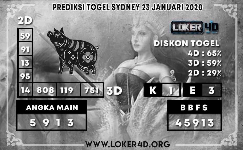 PREDIKSI TOGEL SYDNEY LOKER4D 23 JANUARI 2020
