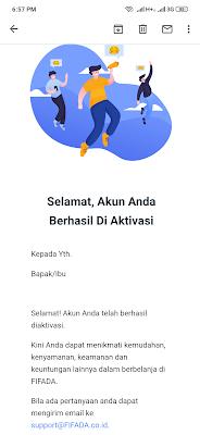 Akun telah diterima dari Aplikasi Fifada Android