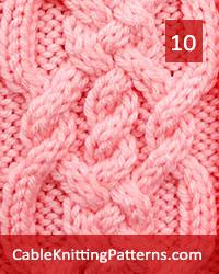 Cable Knitting 10. Knit with 24  stitches and 16-row repeat, techniques used: 2/2 right cross, 2/2 left cross, 2/2 right purl cross, 2/2 left purl cross.