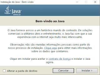 Instalação do Java Tela 1 Téchne Digitus