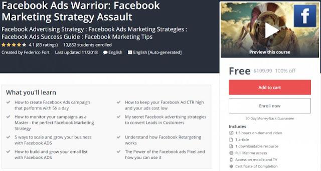 [100% Off] Facebook Ads Warrior: Facebook Marketing Strategy Assault| Worth 199,99$