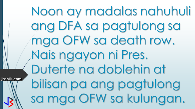 "The Department of Foreign Affairs (DFA) is seeking to increase retainer agreements with law offices in other countries to help aid Filipinos who are in legal trouble, especially those on death row.  This follows President Rodrigo Duterte's directive to work double time in assisting Filipinos who are facing death sentences.  There are currently 85 Filipinos on death row in other countries, 25 of whom are in Saudi Arabia. Just last week, a Malaysian court sentenced nine Filipinos to death over the Sabah standoff that killed at least 70 people. This increases the number to 92 OFWs on death row abroad.  In January, OFW Jakatia Pawa was executed by hanging in Kuwait for killing her employer's daughter. The DFA and the Philippine Embassy in Kuwait only learned about her case the day before her impending execution on Jan. 24.  To avoid future executions of Filipinos abroad, Quezon City representative Winnie Castelo has called for the need to draft a comprehensive legal assistance program. He has requested for the DFA and the Overseas Workers Welfare Administration (OWWA) to provide a complete inventory of the OFWs facing jail term and their corresponding court cases in their host country.  With the list of OFWs facing jail terms and their corresponding court cases in their host countries, Castelo said this would enable the House of Representatives to draft a comprehensive legal assistance program to prevent future executions.  The DFA is now reviewing all the death sentences and has instructed the Office of Public Diplomacy to go through the details of the case and prepare to file an appeal, according to Cayetano.  This is welcome news and development. In the past, the government often criticized for acting slowly in cases that involves OFWs on death row. Usually, legal assistance by the Philippine Government is provided at the final stages of conviction, usually resulting in failed appeals and execution.  ""The President wants double time and one hundred percent effort,"" said DFA Secretary Cayetano. ""Preemptive or proactive, right from the start (of the case).""he added.  During his initial appointment as DFA Secretary, he said the department would prioritize the welfare, protection, and comfort of overseas Filipino workers. This step, to increase the number of foreign law firms assisting OFWs around the world, is a step in the right direction."