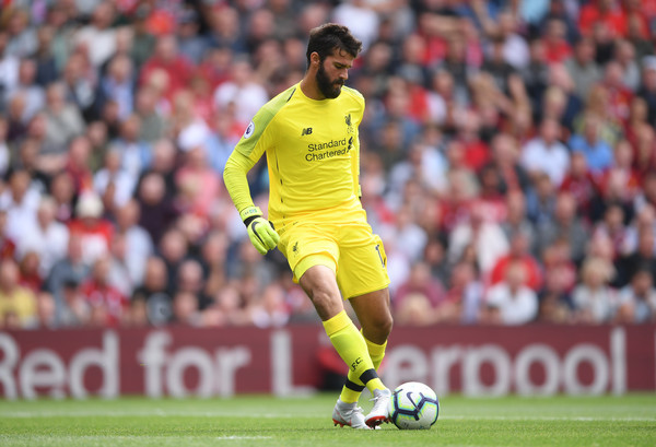 Alisson of Liverpool controls the ball during the Premier League match between Liverpool FC and West Ham United at Anfield on August 12, 2018 in Liverpool, United Kingdom. (Aug. 11, 2018 - Source: Laurence Griffiths/Getty Images Europe)