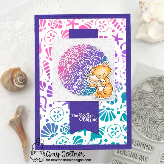 The sea is calling by Amy features Circle Frames, Frames Squared, Frames & Flags, Newton's Seashell, Seashell Roundabout, and Seashells by Newton's Nook Designs; #inkypaws, #newtonsnook, #catcards, #summercards, #cardmaking