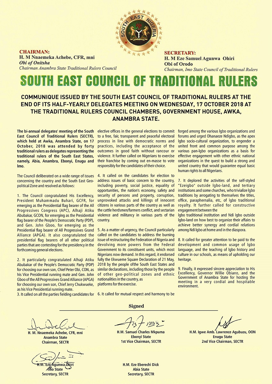 Communique Issued By S/East Trad. Rulers