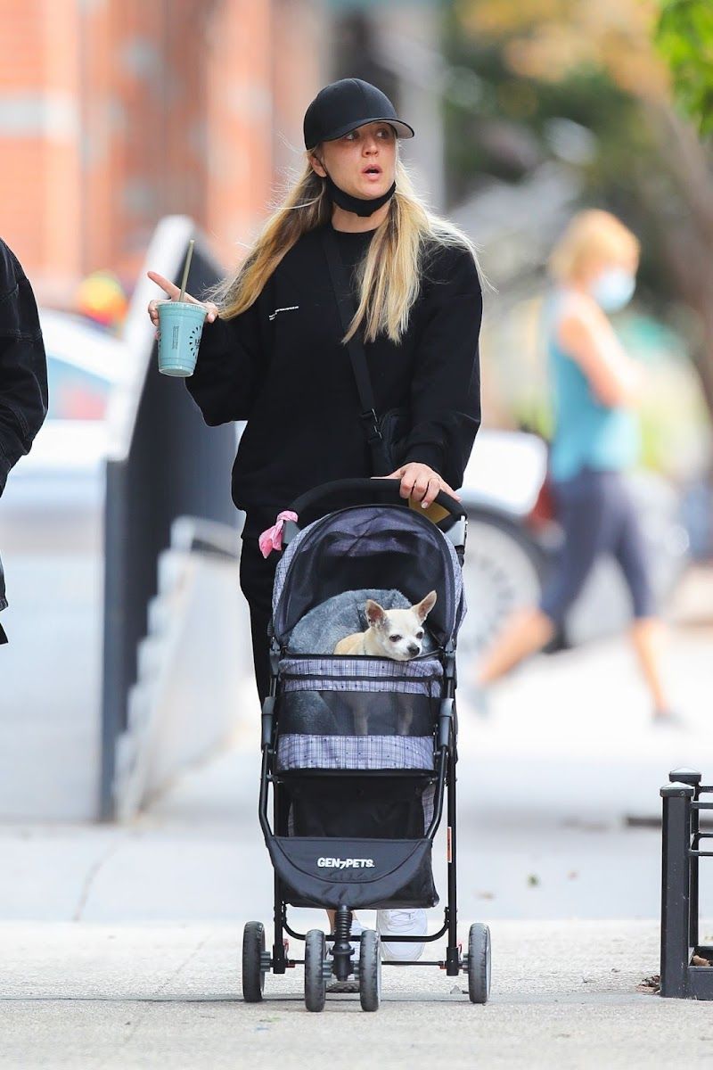 Kaley Cuoco Clicked Outside with Her Dog in New York 16 Sep-2020