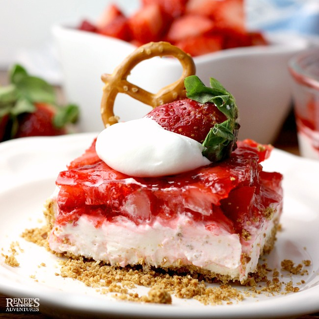 Fresh Strawberry Pretzel Dessert by Renee's Kitchen Adventures