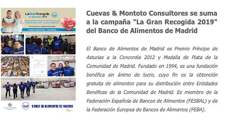 Cuevas y Montoto Consultores participa en la campaña solidaria 'La Gran Recogida 2019' del Banco de Alimentos de Madrid