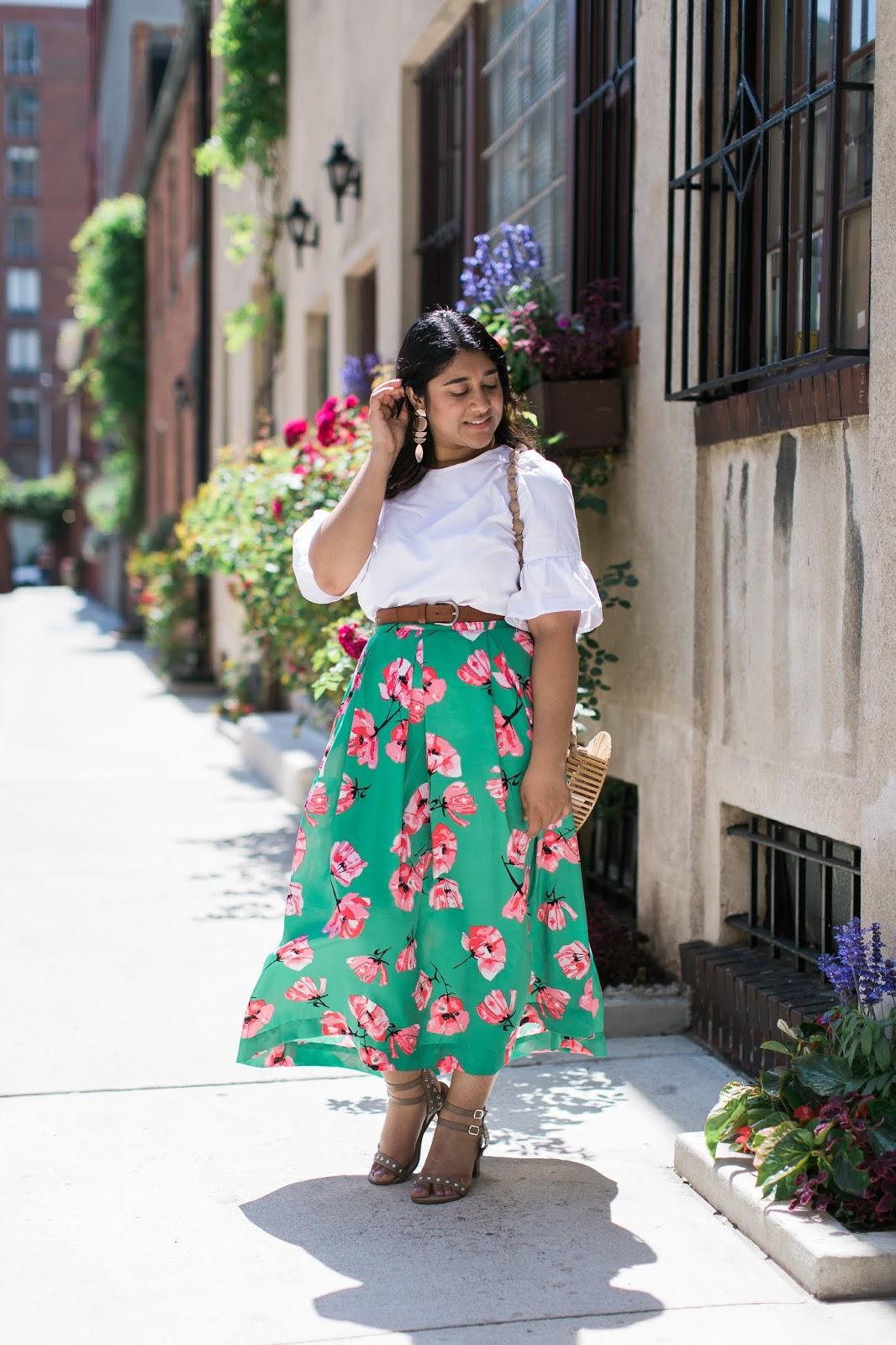 Green Target Floral Midi Skirt
