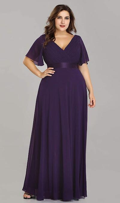 Plus Size Purple Chiffon Bridesmaid Dresses