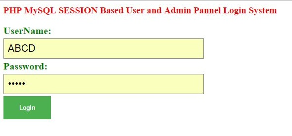 php admin and user login with session