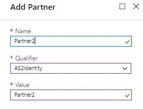 Add partner2 in Integration account