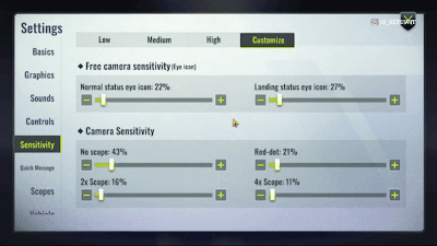 Cyber Hunter Tencent Gaming Buddy's sensitivity setting
