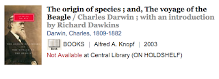 Library catalog entry for Origin of Species