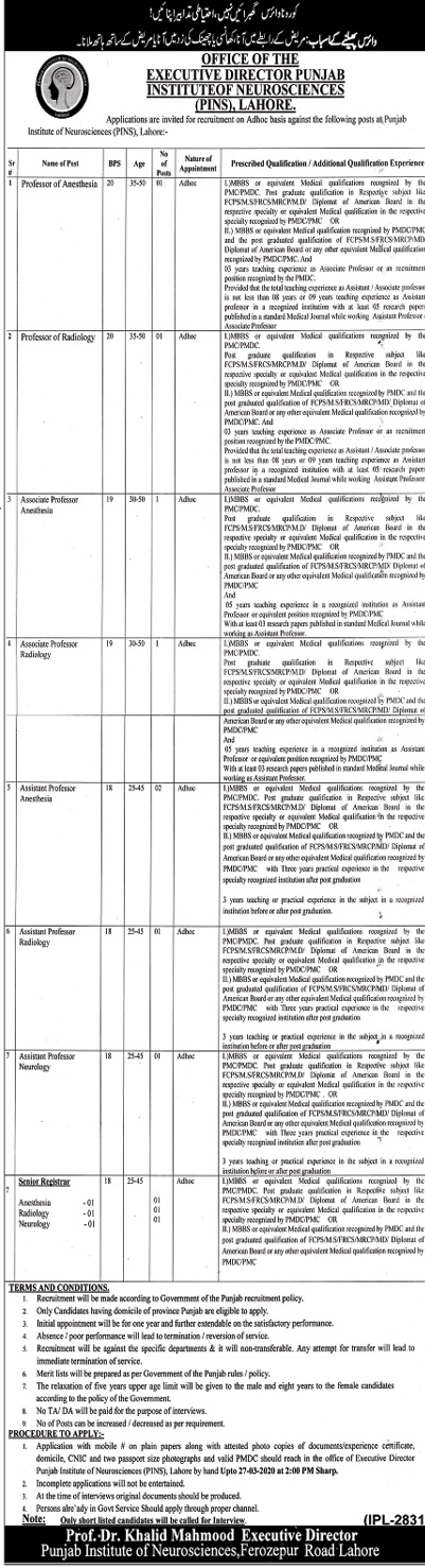 Jobs in Office of The Executive Director Punjab Institute of Neurosciences (PINS) Lahore