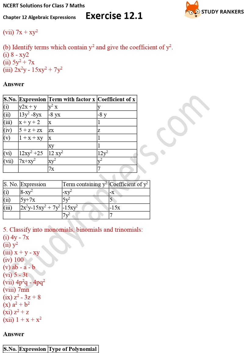 NCERT Solutions for Class 7 Maths Ch 12 Algebraic Expressions Exercise 12.1 5