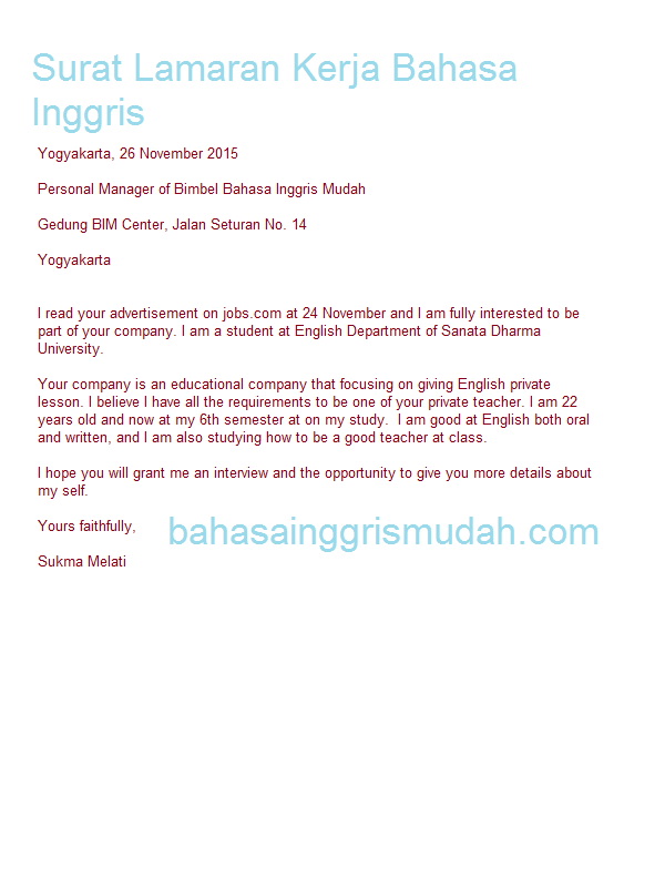 Surat Lamaran Kerja Bahasa Inggris Singkat  ben jobs