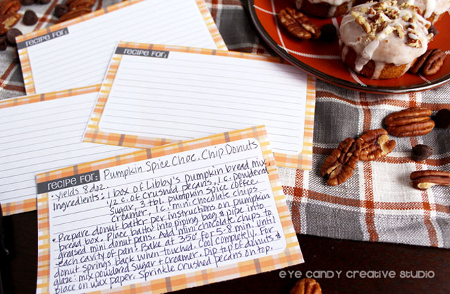 recipe cards, free download, baked donut recipe for pumpkin spice donuts