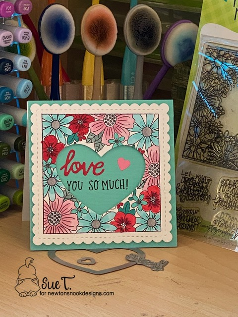 Love you so much by Sue T. features Floral Roundabout, Floral Fringe, Darling Hearts, Frames Squared by Newton's Nook Designs; #newtonsnook, #inkypaws, #valentinescards