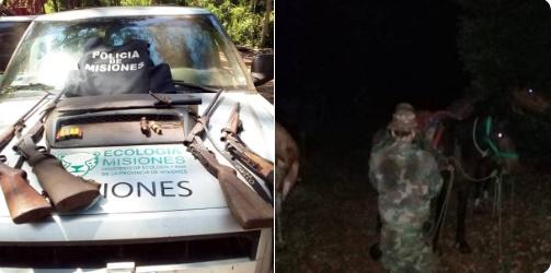 ELDORADO : Caza furtiva: En operativo rural policías detuvieron a cuatro personas y secuestraron armas de fuego