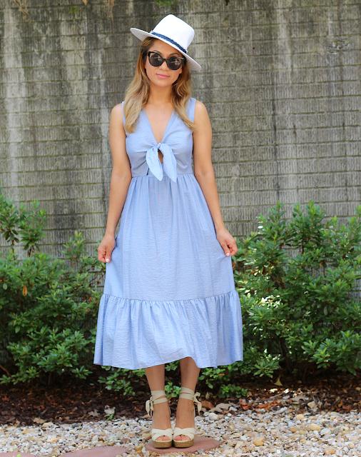 Blue Tie Maxi Dress