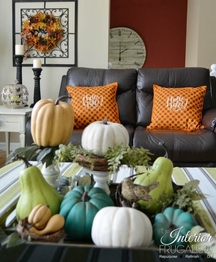 Orange And Brown Checkered Fall Pillows