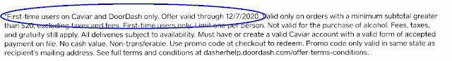 caviar postcard disclosure text 10/2020