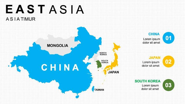 EAST ASIA Map diagram slide ppt