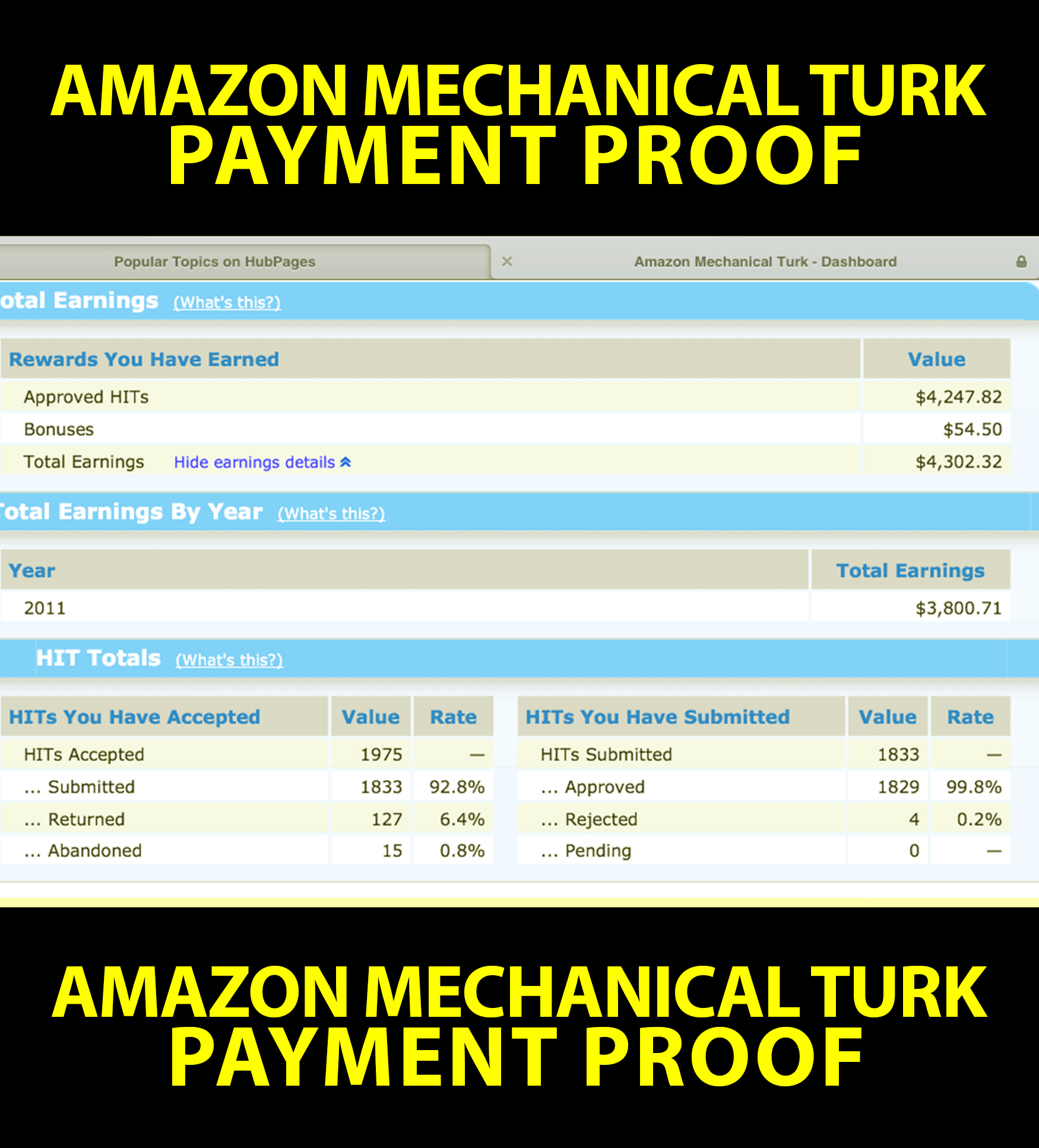 Amazon mechanical turk payment proof