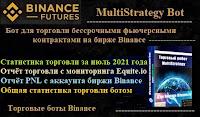 MultiStrategy Bot для торговли на бирже Binance - статистика торговли ботом за июль 2021 года + PNL