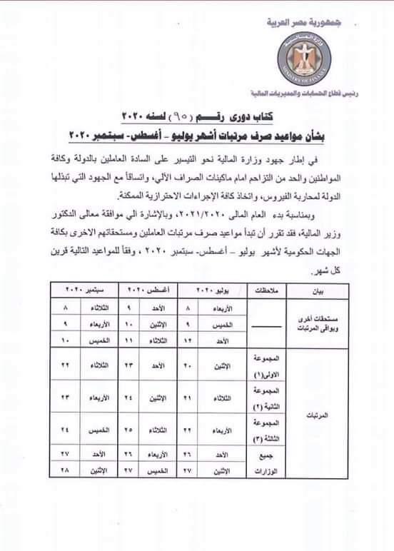 مواعيد صرف مرتبات شهر سبتمبر 2020 لجميع العاملين بالدولة .. وزارة المالية