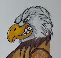 concept art de águila enemiga, personaje para videojuego