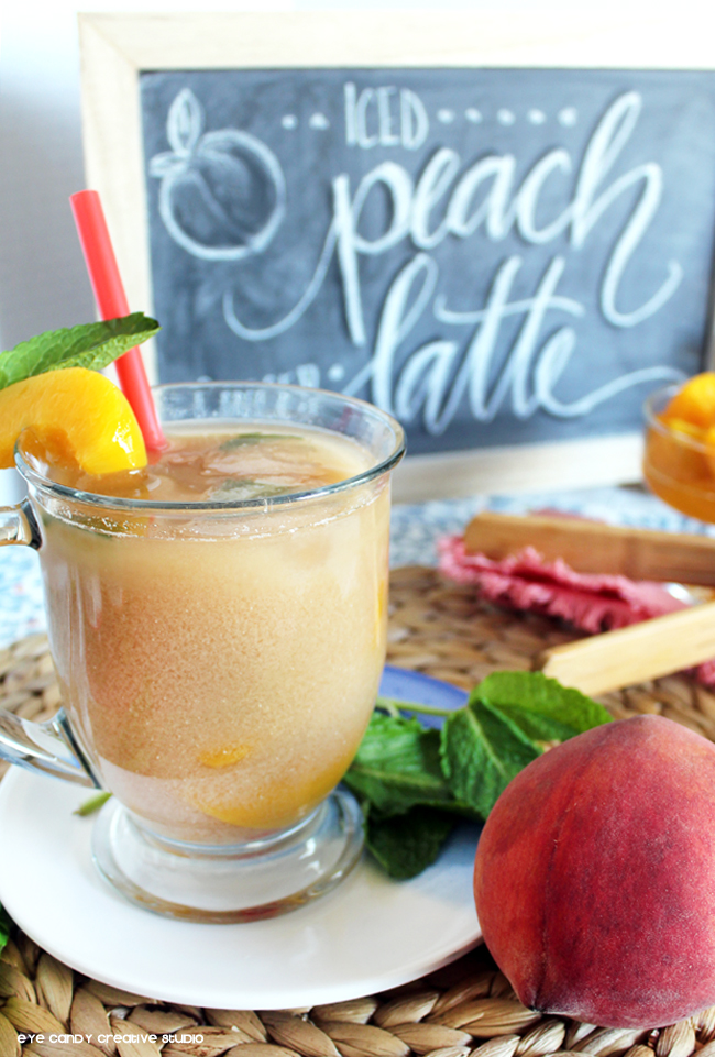 springtime sip, peach latte, peach ginger iced tea, frsh peaches, mint