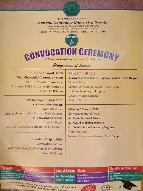 UDUSOK 35th - 37th Combined Convocation Ceremonies Dates 2019