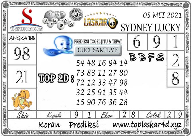 Prediksi Togel Sydney Lucky Today LASKAR4D 05 MEI 2021