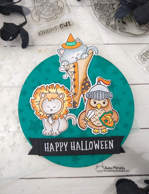 Happy Halloween by Diane features Cascading Stars, Circle Frames, Banner Trio, Spooky Roundabout, Newton's Costume Party, Witchy Newton, and Knight Owl by Newton's Nook Designs; #inkypaws, #newtonsnook, #halloweencards, #catcards, #cardmaking