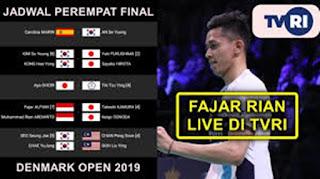 Jadwal Semifinal Denmark Open