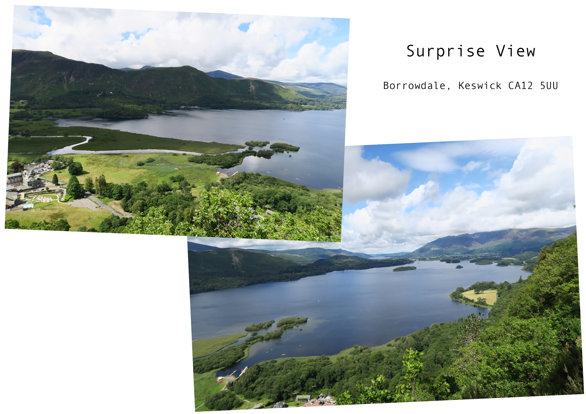 two images. Both are of the wide Derwentwater lake which is surrounded by green hills