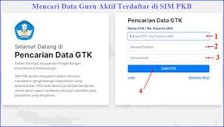 mencari data guru/ gtk aktif terdaftar di sim pkb