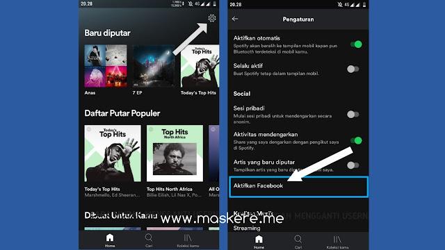 Cara mengubah Username Spotify Menghubungkan Akun Facebook via Aplikasi Spotify HP (Android/iPhone)