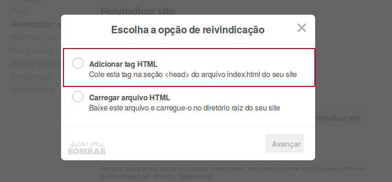 Reivindicando site no Pinterest. Adicionar TAG HTML.