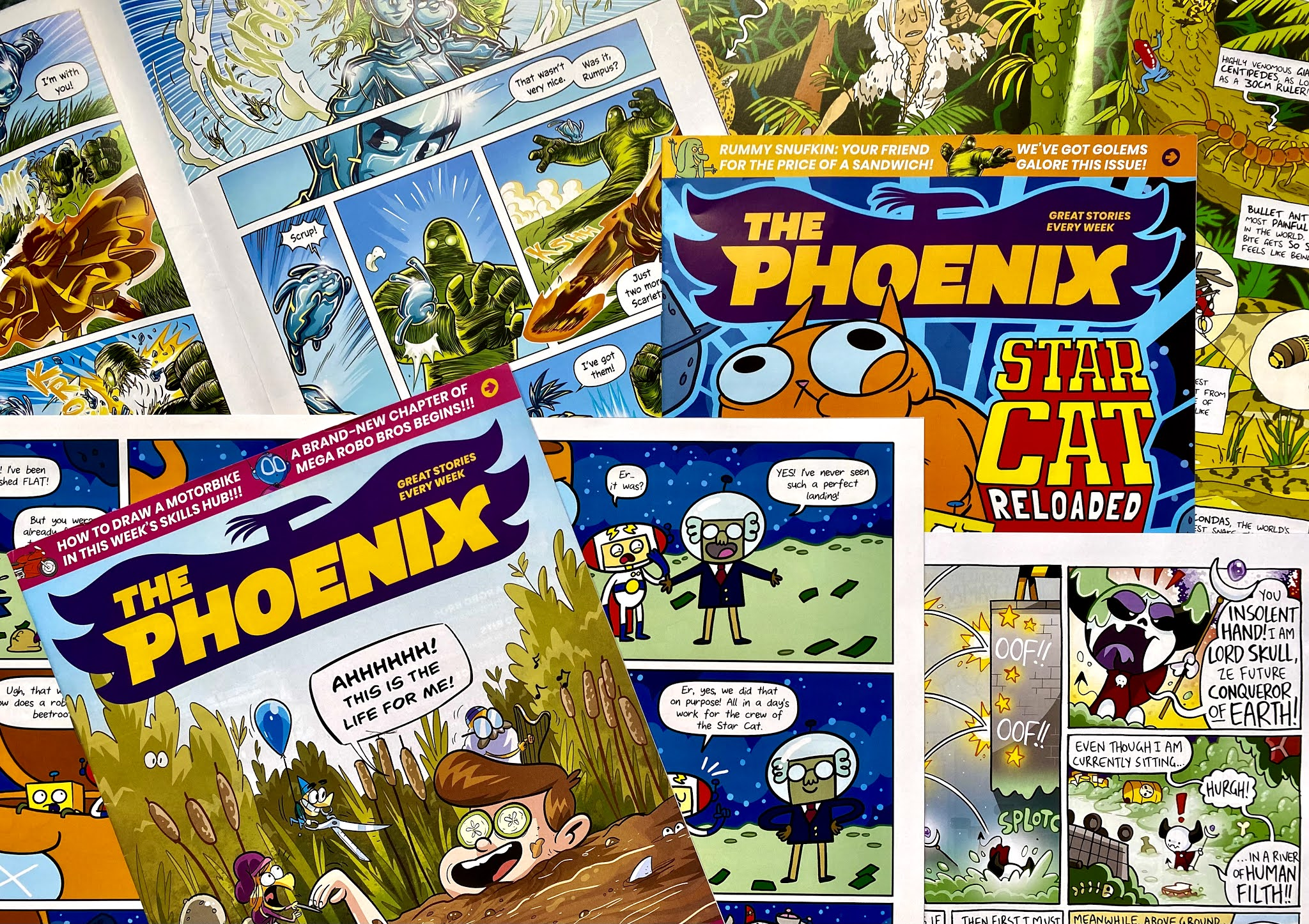A number of issues of The Phoenix comic including open copies to show examples of the stories