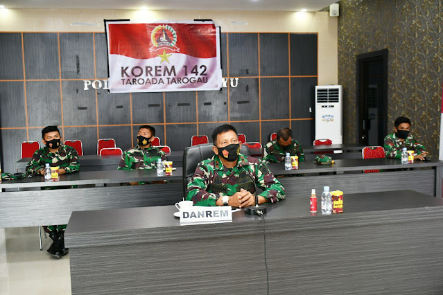 Danrem 142/Tatag video conference dengan tim current audit Itjenad