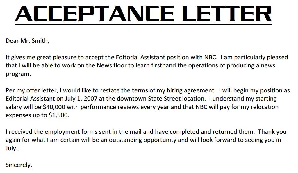 Job Acceptance Job fer Acceptance Letter – Email Format Job