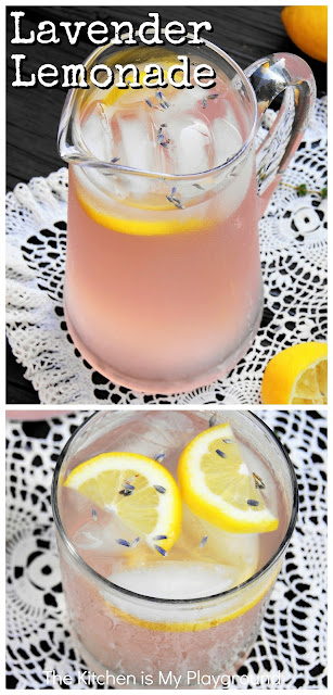 Lavender Lemonade ~ You'll fall in love with Lavender Lemonade's beautiful shade of pink, and its fragrant floral flavor of lavender. A fabulously delicious summer sipper!  #lavender #lavenderlemonade #lavenderrecipe  www.thekitchenismyplayground.com