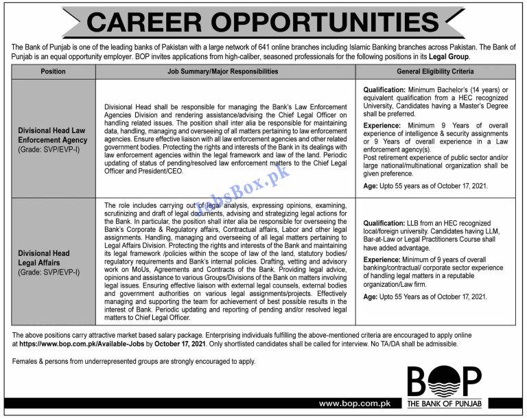 https://www.bop.com.pk - BOP Bank of Punjab Jobs 2021 in Pakistan