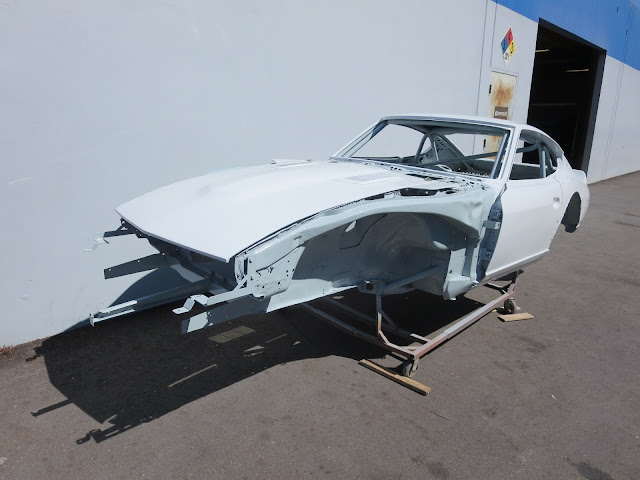 Larry Oka 1972 Datsun 240Z Race Car Shell with new pearl white paint.