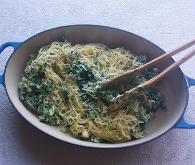 Capellini with Swiss Chard & Feta Cheese