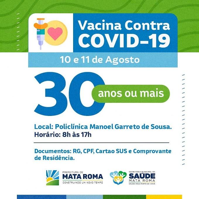 Vacina Contra a Covid-19, a nova faixa etária é de 30 anos ou mais para a 1° dose.