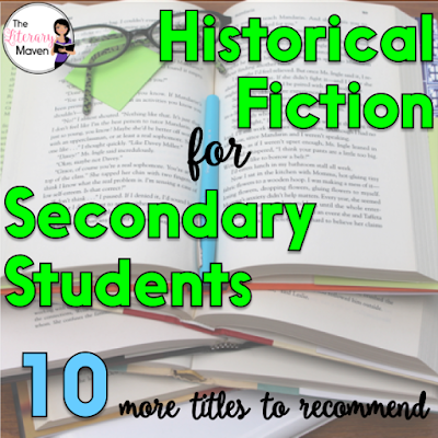 Historical fiction is the perfect blend of fiction and nonfiction. Parts of it are true and it could have all happened, but it didn't quite. It's a genre I love to recommend to students because as they are reading, they are also learning about an issue, event, or time period. Here's ten historical fiction titles, separated into middle school and high school, that I've recently read and would recommend.